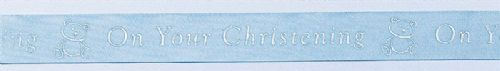 Blue Coloured Christening Ribbon - 24mm